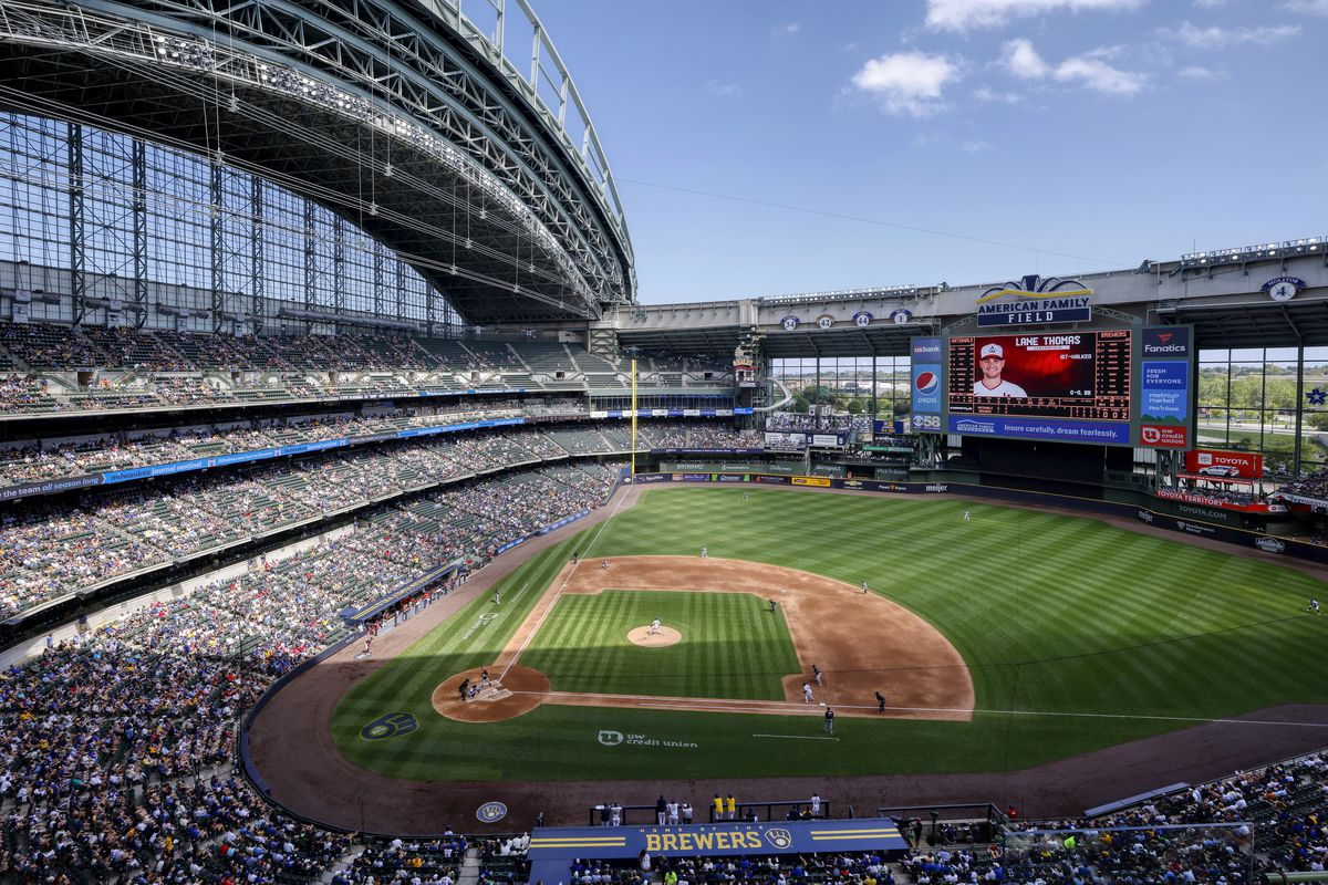 General view of the ballpark during the MLB game between the Milwaukee Brewers and Washington Nationals on August 22, 2021 at American Family Field in Milwaukee, Wisconsin.