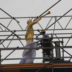 The Angel Moroni statue is placed atop the Trujillo Peru Temple.