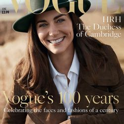 On her cover, Kate wears Burberry's double-breasted suede coat, a Burberry top, Christaseya trousers, and a green felt fedora from London vintage shop Beyond Retro.