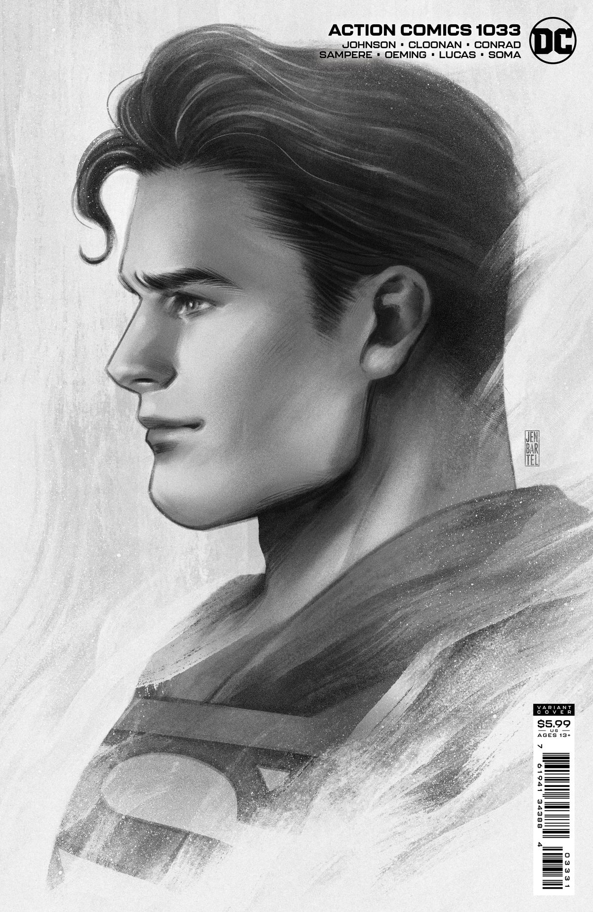Image: A greyscale profile image of Clark Kent/Superman on the cover of Action Comics #1033, DC Comics (2021).