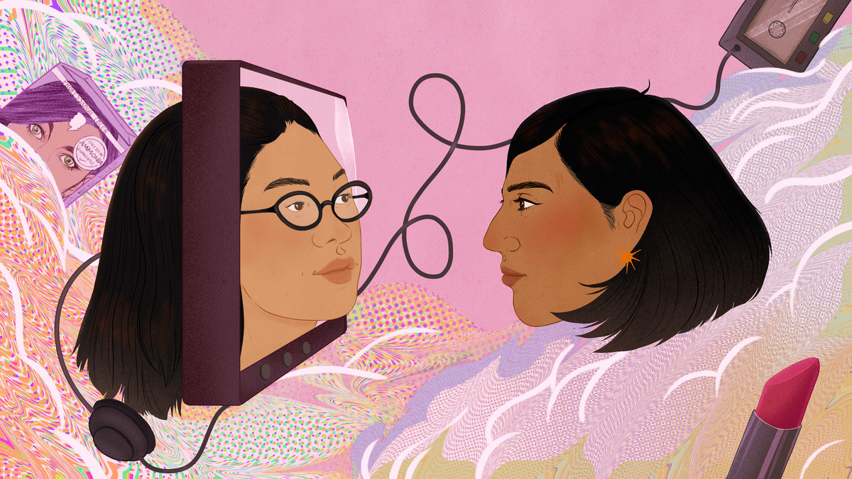 """An illustration of the author looking in a TV screen and seeing the face of Lane Kim from """"The Gilmore Girls."""""""