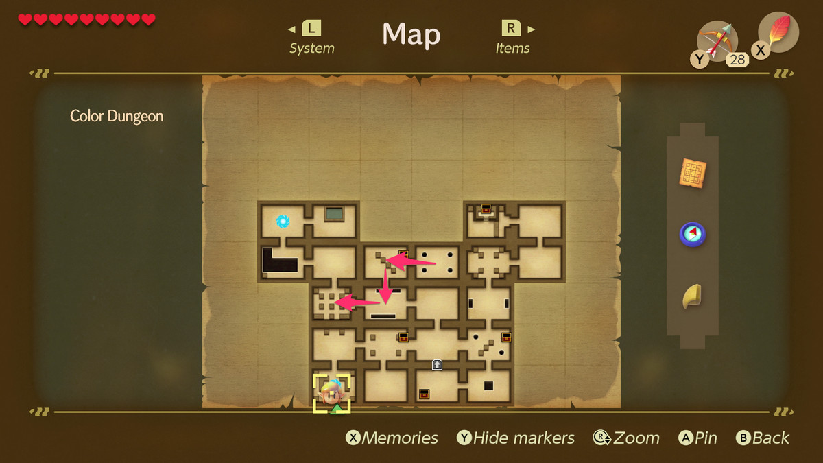 Link's Awakening Color Dungeon path to the Hardhit Beetle boss fight