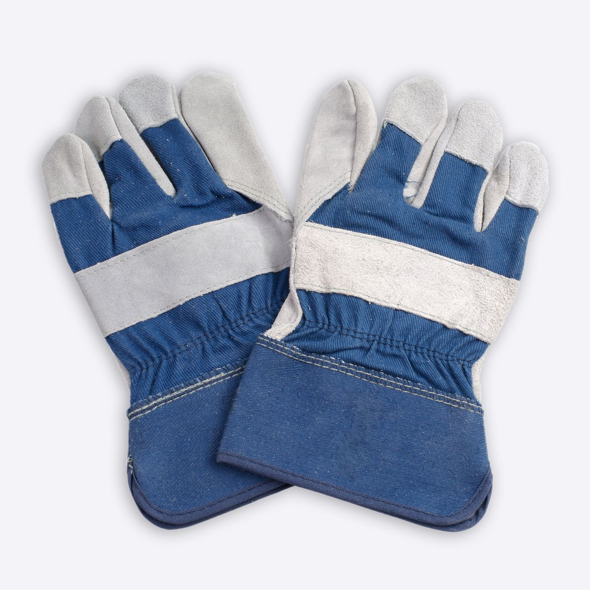 Blue and gray leather work gloves.