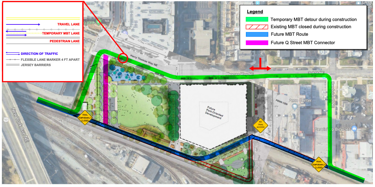 A street-view map of the planned Metropolitan Branch Trail detour showing the detour in green and the future part of the trail in blue as well as a planned 2.5-acre park and development project.