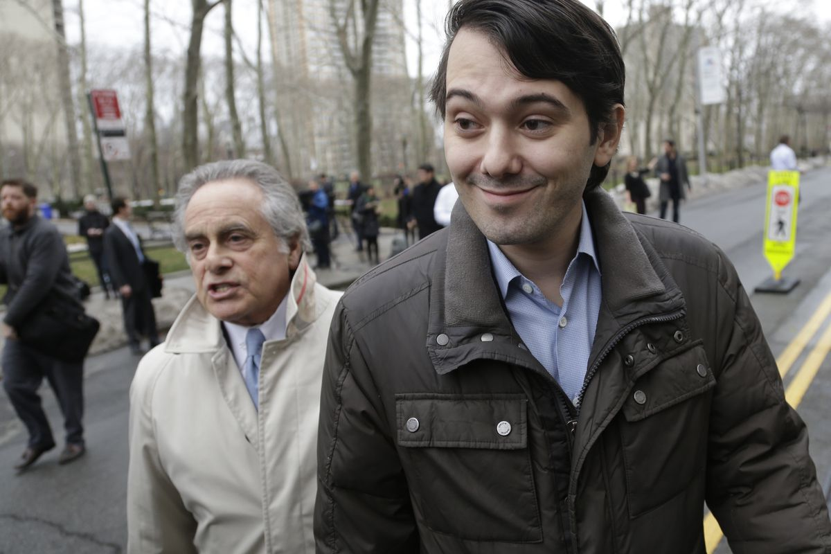 """Martin Shkreli leaves court in New York Wednesday, February 3, 2016. The former pharmaceutical CEO says he'd like to """"berate"""" and """"insult"""" Congress — but instead will plead the Fifth Amendment during questioning on Thursday."""
