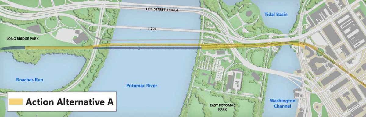 A map of a bridge redevelopment project, showing a river, bridges, and adjacent parks.