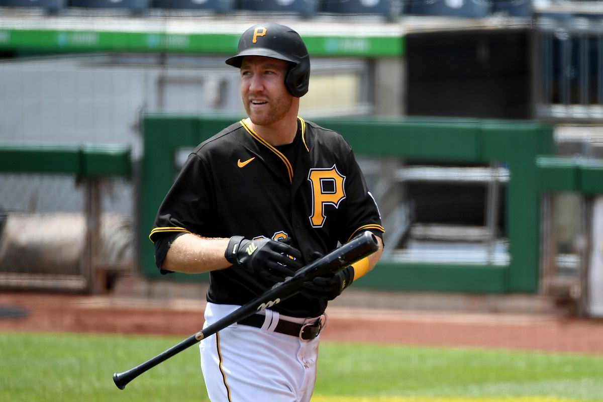 Todd Frazier #99 of the Pittsburgh Pirates walks back to the dugout after striking out in the first inning during the game against the St. Louis Cardinals at PNC Park on May 2, 2021 in Pittsburgh, Pennsylvania.