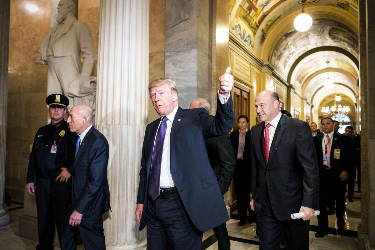 WASHINGTON, DC - President Donald Trump visits Capitol Hill to meet with Republicans on the day the House will be voting on their tax bill on the floor, in Washington, DC Thursday November 16, 2017. (Photo by Melina Mara/The Washington Post via Getty Images)