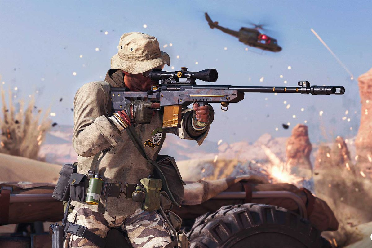 A player in Call of Duty: Warzone using a sniper rifle