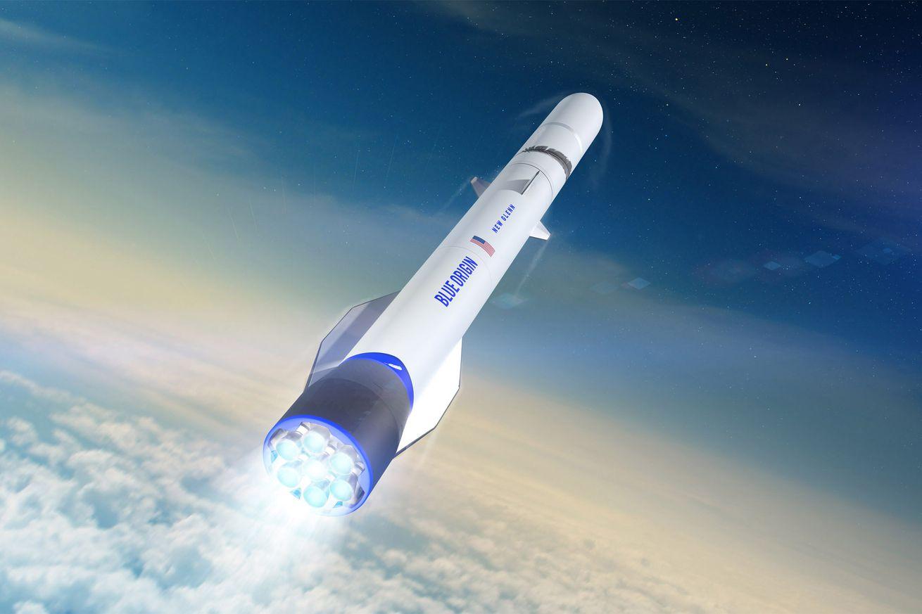 <em>An artistic rendering of Blue Origin's New Glenn rocket</em>