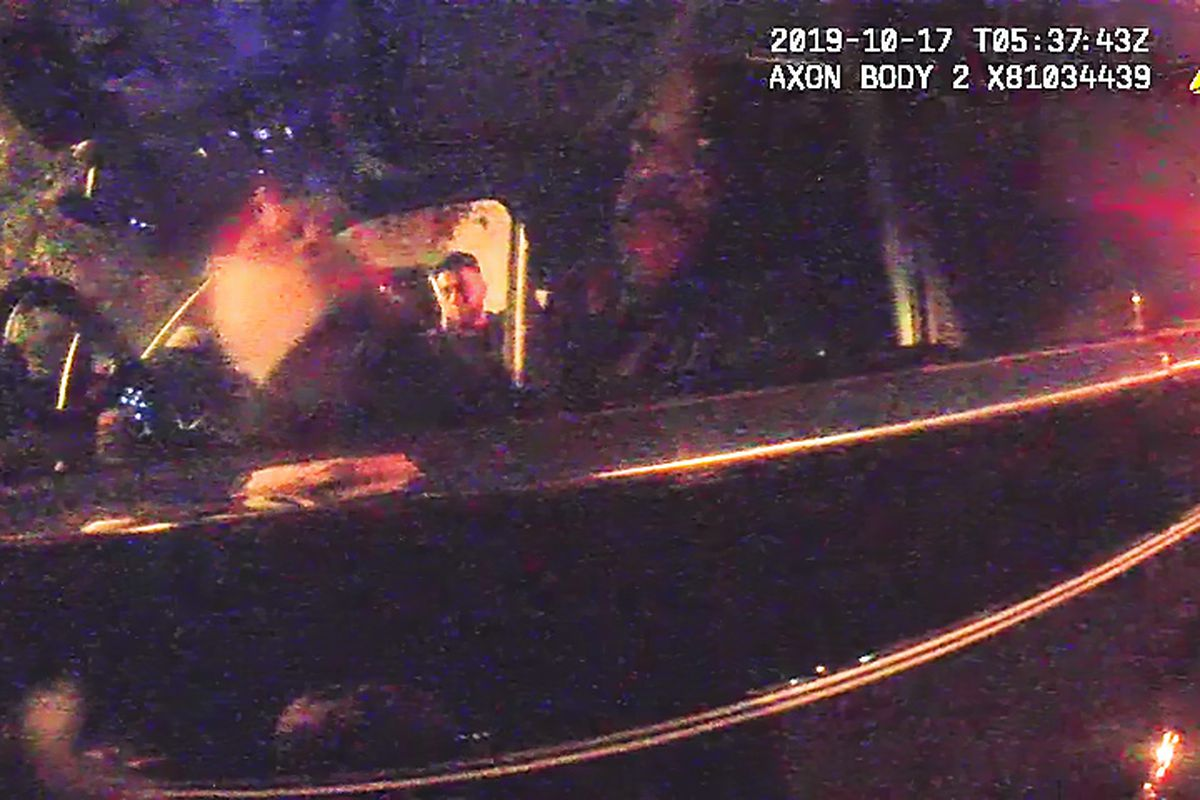 Screenshot from provided bodycam footage of former CPD Supt. Eddie Johnson asleep in vehicle.