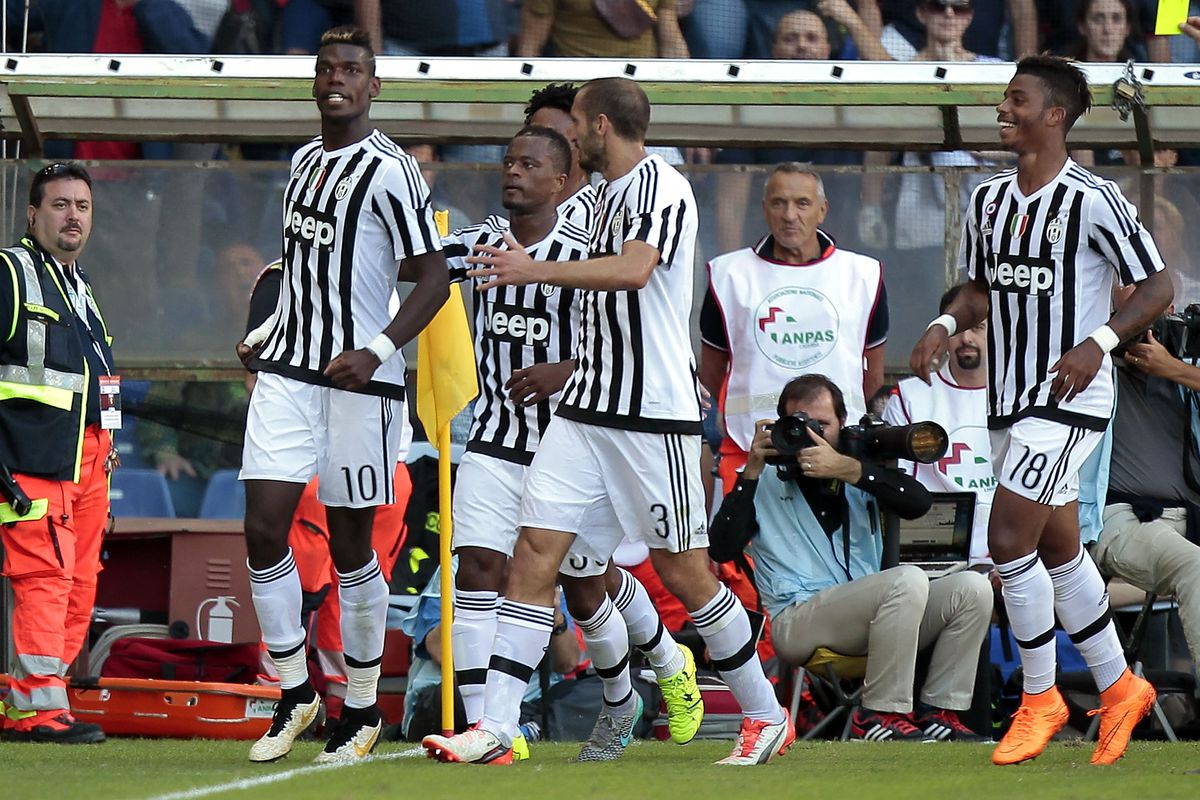 Paul Pogba scored from the penalty spot as Juventus picked up its first win of the season Sunday.