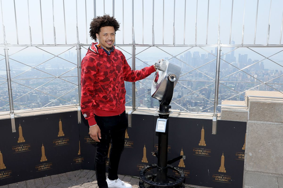 Presumptive #1 NBA Draft Pick Cade Cunningham visits The Empire State Building on July 27, 2021 in New York City.