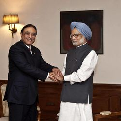 ALTERNATE CROP OF DEL108 - Pakistan President Asif Ali Zardari, left, shakes hands with Indian Prime Minister Manmohan Singh prior to their meeting at the latter's residence in New Delhi, India, Sunday, April 8, 2012. Zardari arrived in India on a private trip Sunday that also gives him a chance to meet Indian leaders amid a thaw in relations between the two South Asian rivals.