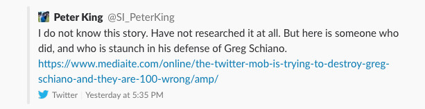 Screenshot of a tweet from Peter King linking to a defense of Greg Schiano