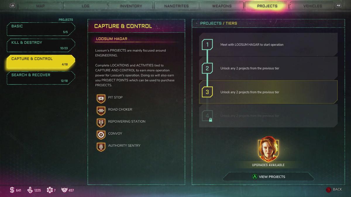 Rage 2 Projects menu