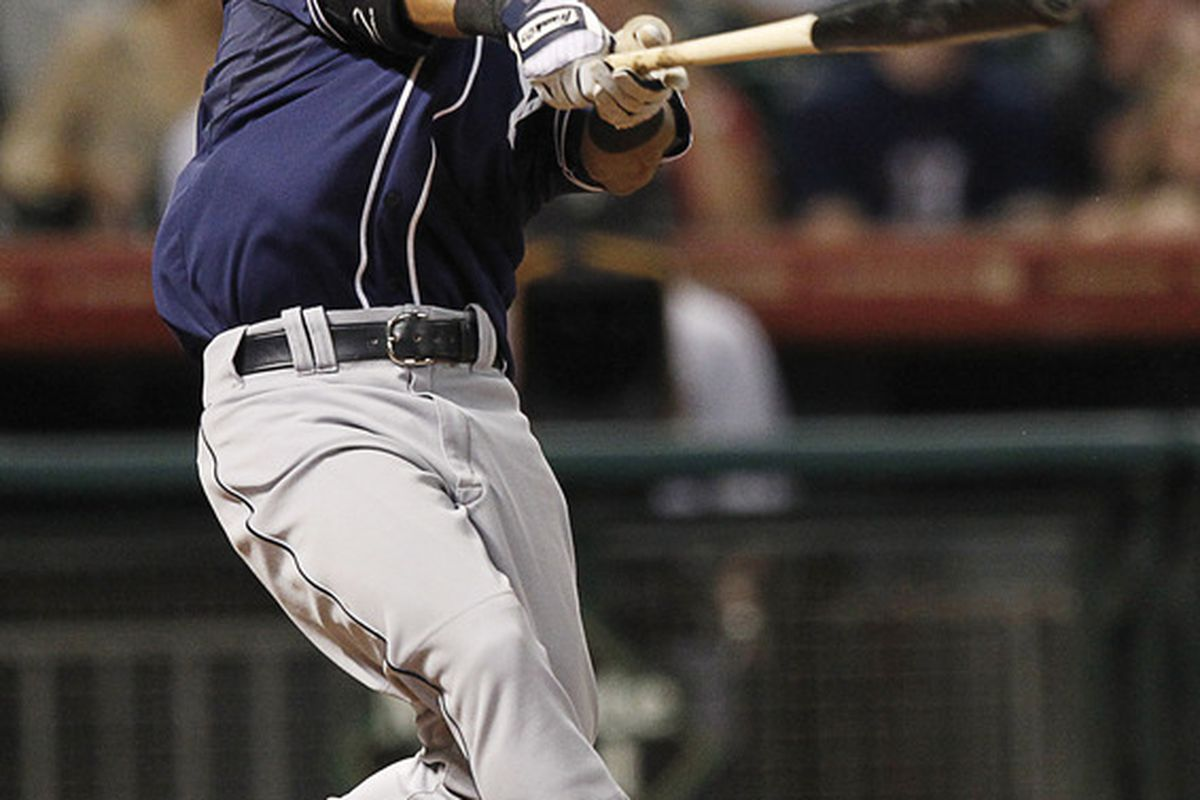 HOUSTON, TX - JUNE 28:  Alexi Amarista #5 of the San Diego Padres hits a grand slam home run in the ninth inning off of Brett Myers #39 of the Houston Astros at Minute Maid Park on June 28, 2012 in Houston, Texas. (Photo by Bob Levey/Getty Images)