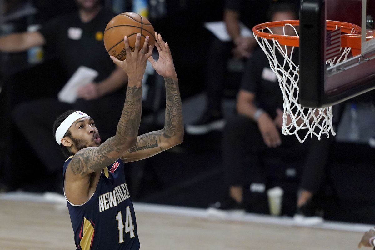 New Orleans Pelicans player Brandon Ingram heads to the basket during the first half of an NBA basketball game against the Utah Jazz.