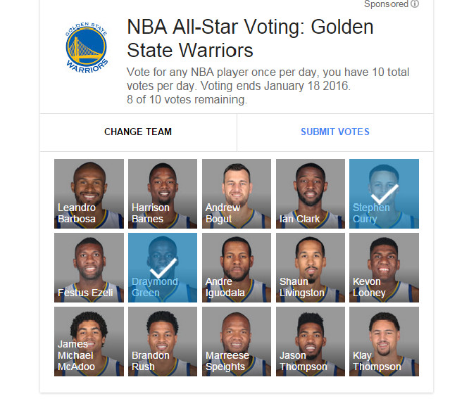 nba google all-star voting warriors