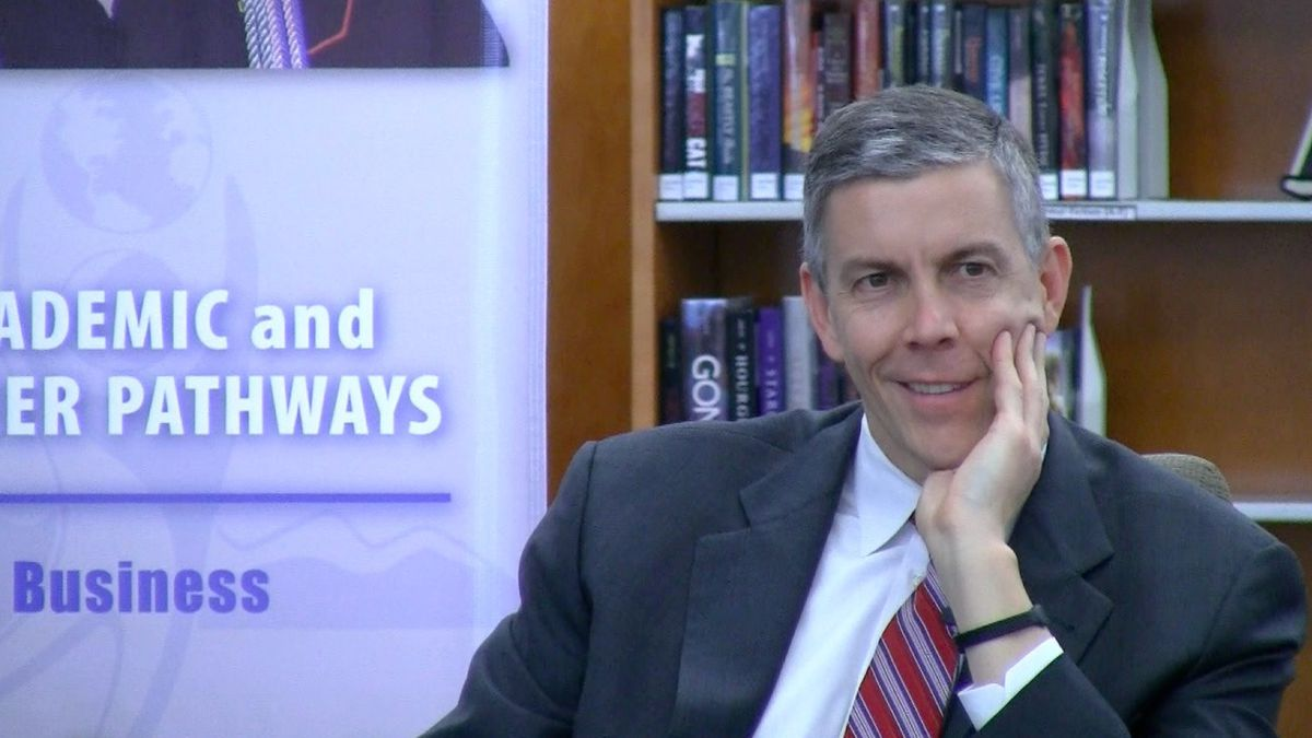 U.S. Education Secretary Arne Duncan listens at Tuesday's roundtable discussion in Aurora.