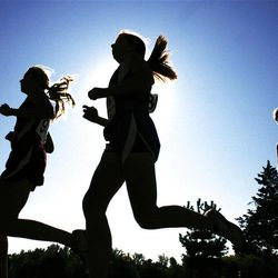 Runners at Wednesday's girls 5A state cross country high school race at Sugarhouse Park.