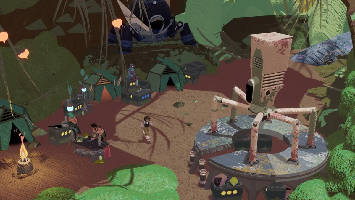 a scene at stonefly's camp, with a big mech with spider legs