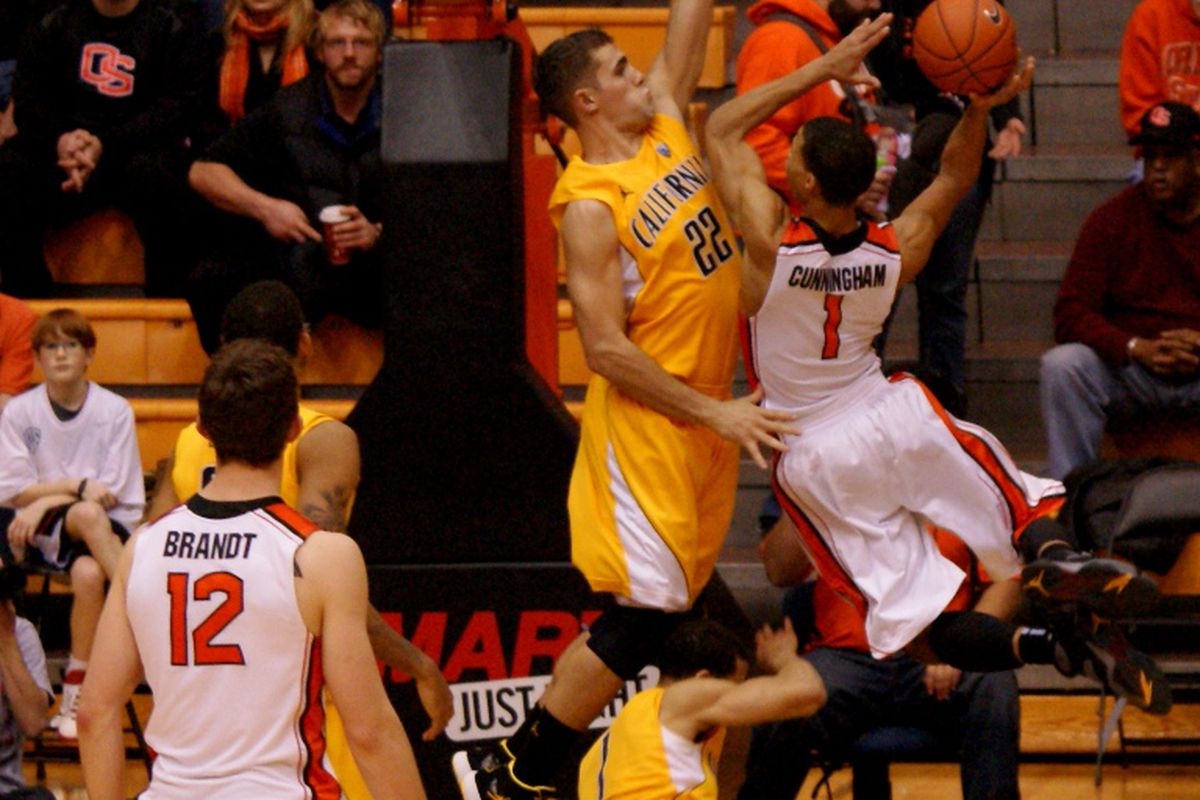Oregon St.'s Jared Cunningham scored 24 points in Oregon St.'s 92-85 win over California. Will the Beavers' leader's human highlight video get some more great plays added against Stanford? <em>(Photo by Andy Wooldridge)</em>