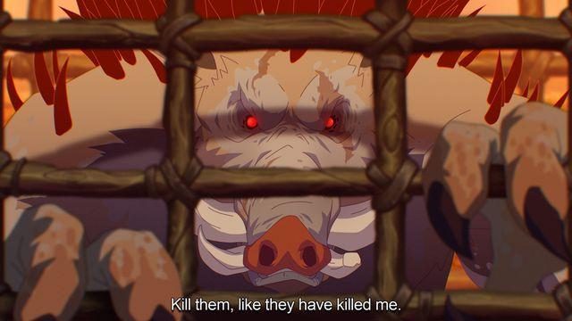 """World of Warcraft - art of an imprisoned quilboar by Vlad """"Vladihr"""" Harabagiu."""