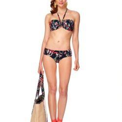 Bandeau bikini top in palm print ($22.99), bikini bottoms in palm print ($22.99), straw beach tote in palm print ($39.99), wedge sandals in palm print ($29.99, online exclusive).