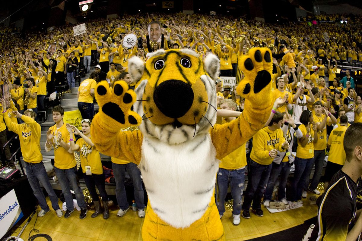 COLUMBIA, MO - FEBRUARY 04:   Truman the Tiger pumps up the crowd before a game between the Missouri Tigers and the Kansas Jayhawks the first half at Mizzou Arena on February 4, 2012 in Columbia, Missouri. (Photo by Ed Zurga/Getty Images)