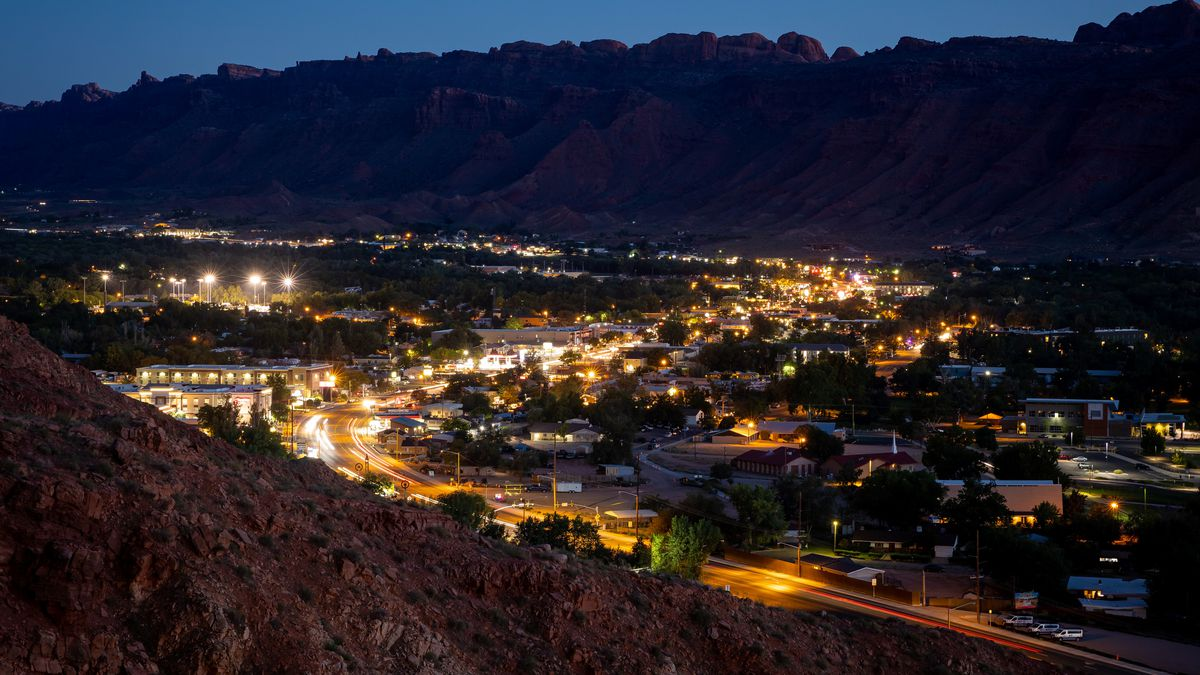 Moab is pictured at dusk on Friday, Sept. 17, 2021.