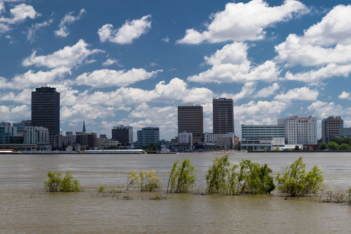 Baton Rouge Skyline and State Capitol on Mississippi River, Louisiana