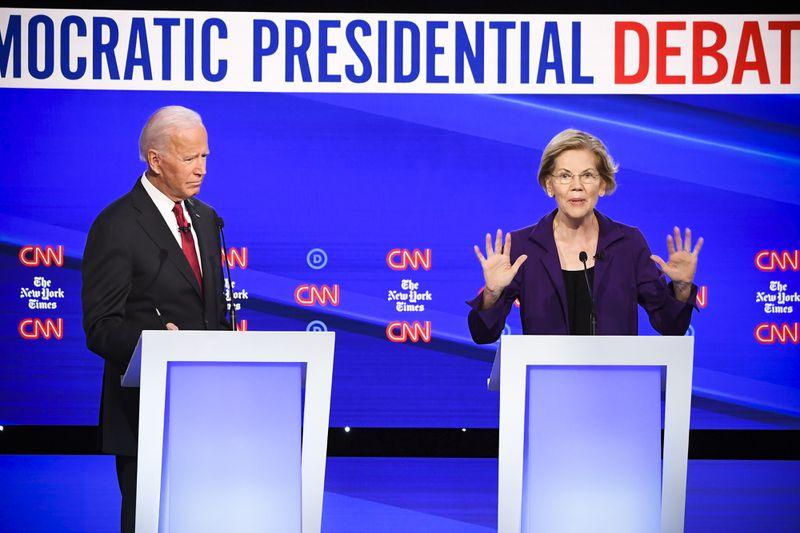 Democratic presidential hopefuls Former Vice President Joe Biden and Sen. Elizabeth Warren.