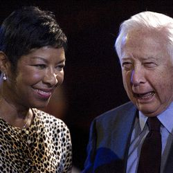 Natalie Cole and David McCullough chat with friends after speaking to the media about the annual Christmas concert at the Conference Center in Salt Lake Friday.
