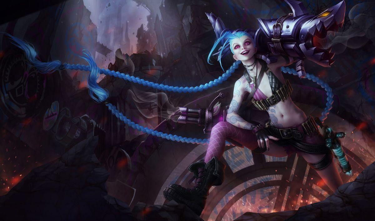 Jinx sits atop a pile of rubble, hoisting her beloved fishbones gun on her shoulder