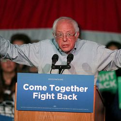 """Vermont Sen. Bernie Sanders speaks during the """"Come Together and Fight Back"""" tour at the Rail Event Center in Salt Lake City on Friday, April 21, 2017. The tour is part of the process of creating a Democratic Party that is strong and active in all 50 states, and a party that focuses on grass-roots activism and the needs of working families."""