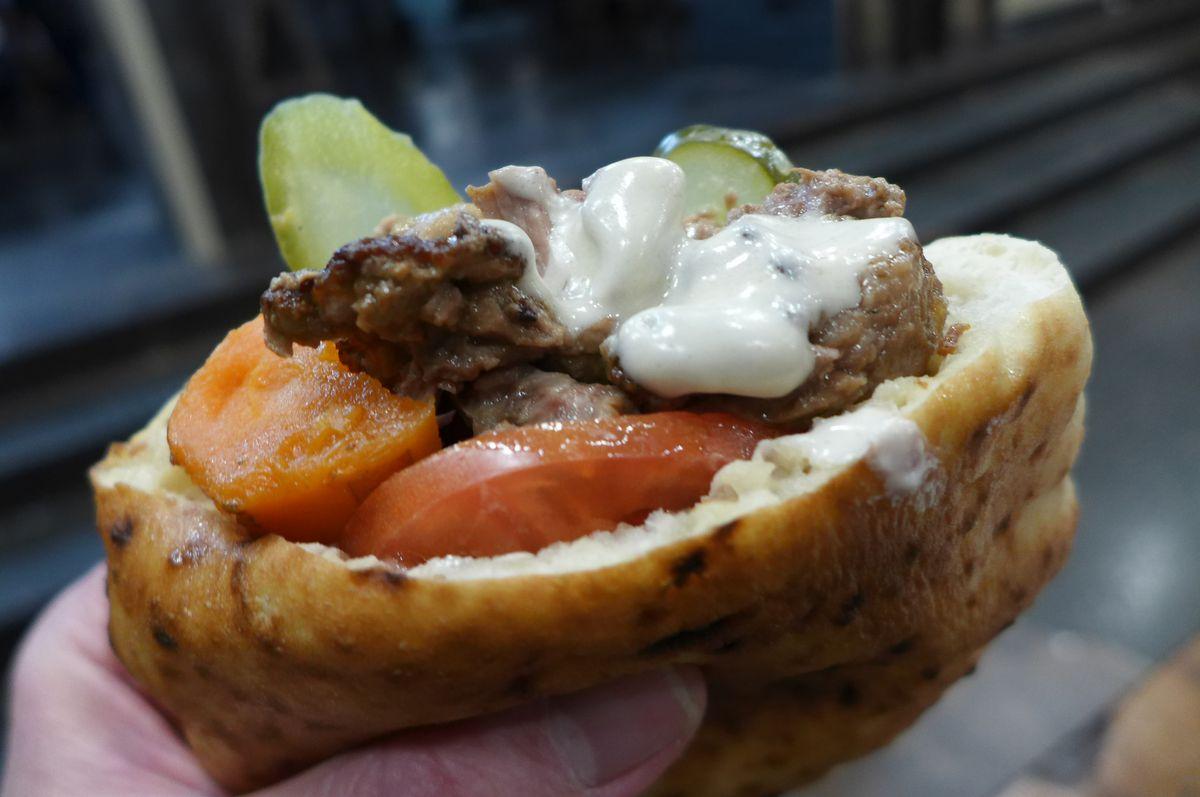Folded cheeseburger Miznon