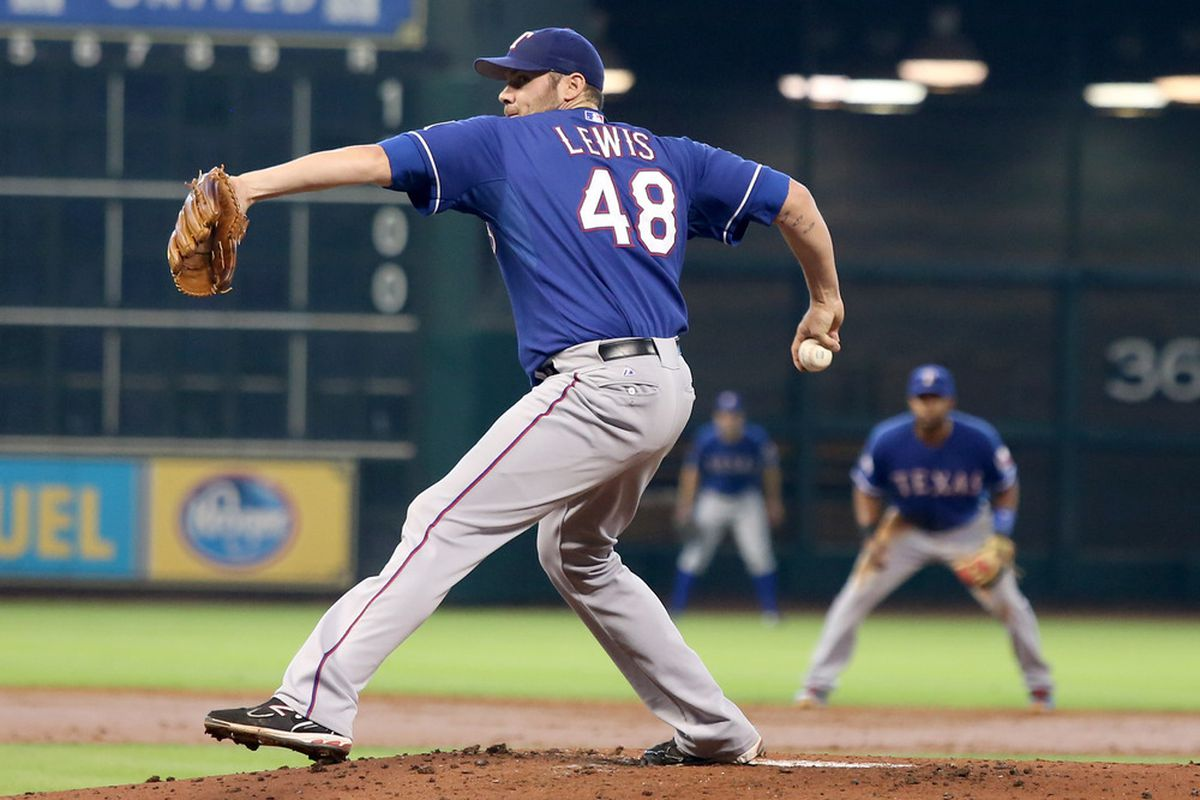 HOUSTON,TX- MAY 20: Colby Lewis #48 of the Texas Rangers pitches against the Houston Astros in the 1st inning on May 20, 2012 during interleague play at Minute Maid Park in Houston, Texas.(Photo by Thomas B. Shea/Getty Images)