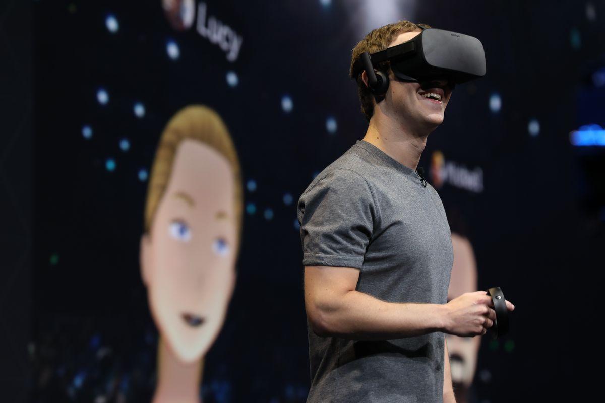 Facebook's Mark Zuckerberg wearing an Oculus Rift