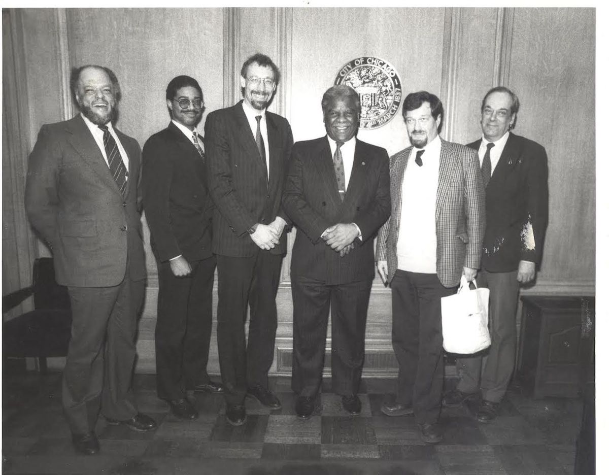 Buzz Palmer (left), who headed the Sister Cities initiative for Mayor Harold Washington (center), with a trade delegation from Sweden.