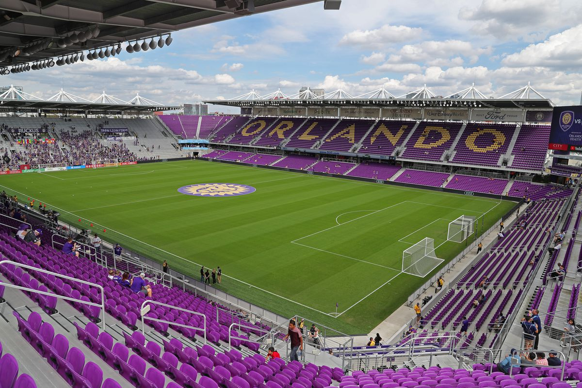 A general view of the playing field prior to a MLS soccer match between New York City FC and Orlando City SC at Orlando City Stadium on March 2, 2019 in Orlando, Florida.