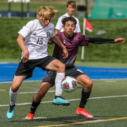 The Emery Spartans and Morgan Trojans play a 3A semifinal game of soccer at Juan Diego Catholic High School in Draper on Monday, May 17, 2021.