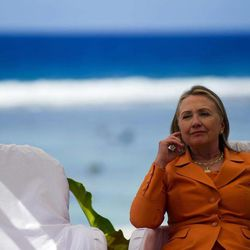 U.S. Secretary of State Hillary Rodham Clinton prepares to speak during an event on peace and security in the Pacific, in Rarotonga, Cook Islands, Friday, Aug. 31, 2012.
