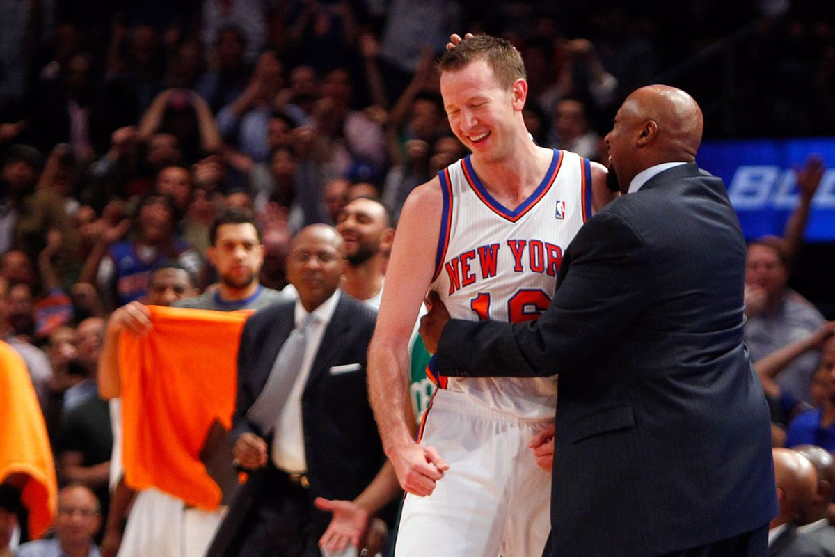 Apr. 17, 2012; New York, NY, USA; New York Knicks head coach Mike Woodson gives small forward Steve Novak (16) a hug on the sidelines during the first half against the Boston Celtics at Madison Square Garden. Mandatory Credit: Debby Wong-US PRESSWIRE
