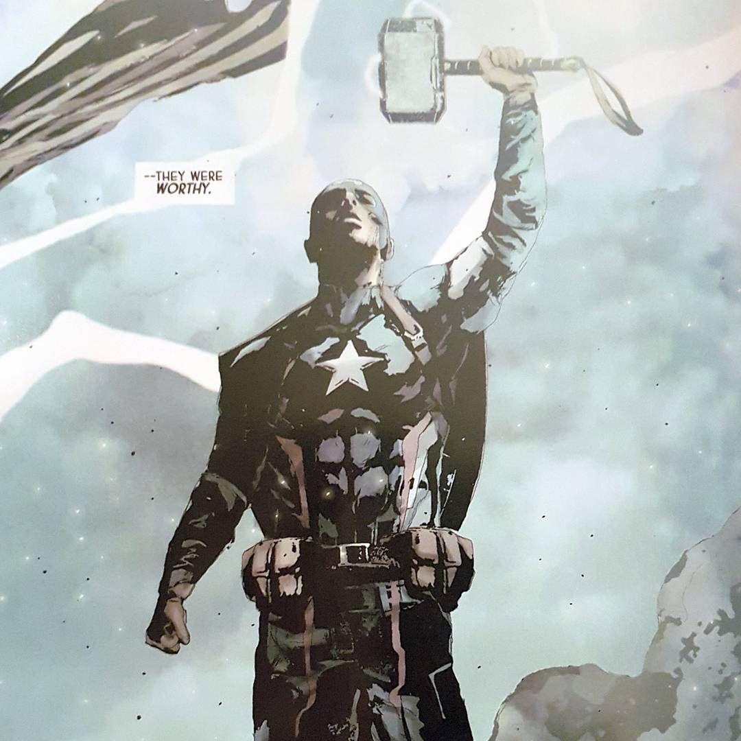 Hydra-Captain America holding the hammer of Thor.