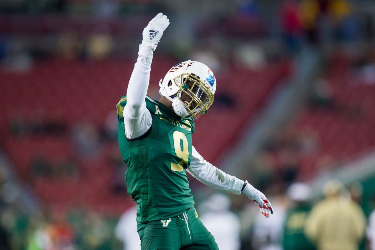 University of South Florida defensive back KJ Sails interacts with fans during the South Florida Bulls game versus the Cincinnati Bearcats on November 16, 2019 at Raymond James Stadium in Tampa, FL.