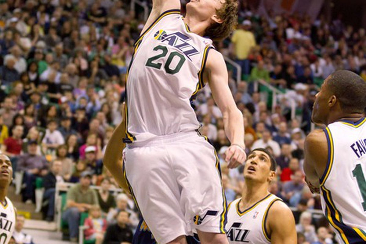 March 23, 2012; Salt Lake City, UT, USA; Utah Jazz shooting guard Gordon Hayward (20) attempts to block a shot during the first quarter against the Denver Nuggets at Energy Solutions Arena. Mandatory Credit: Russ Isabella-US PRESSWIRE