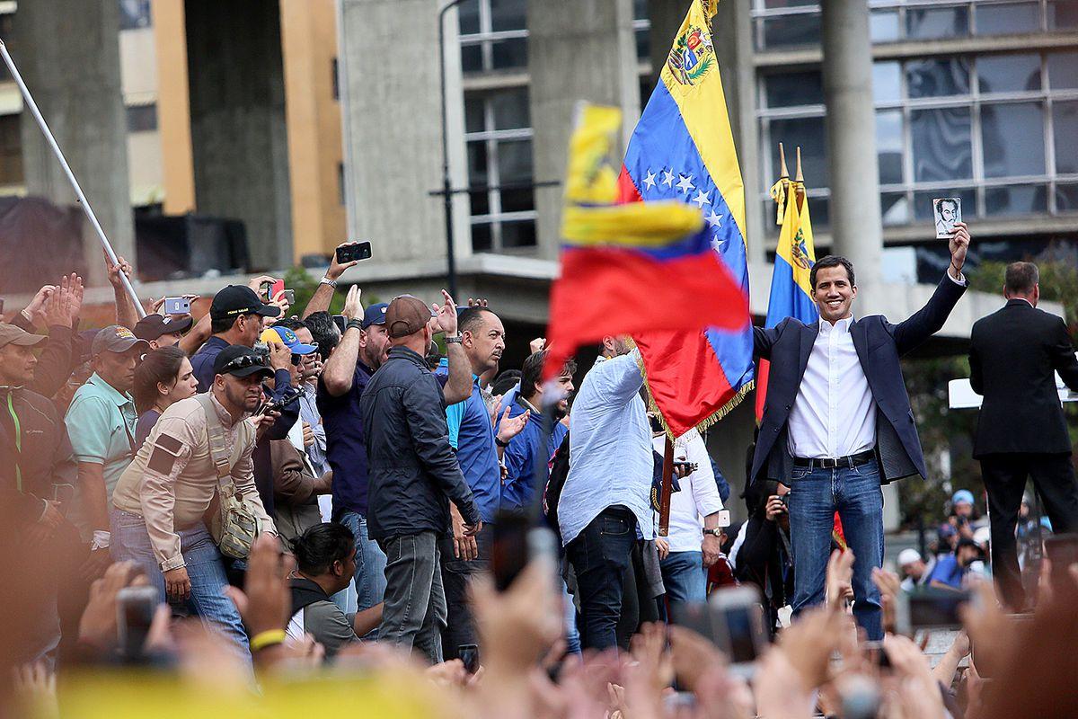 Venezuelan opposition leader Juan Guaido declares self interim president as thousands of people protest against Nicolás Maduro on January 23, 2019.
