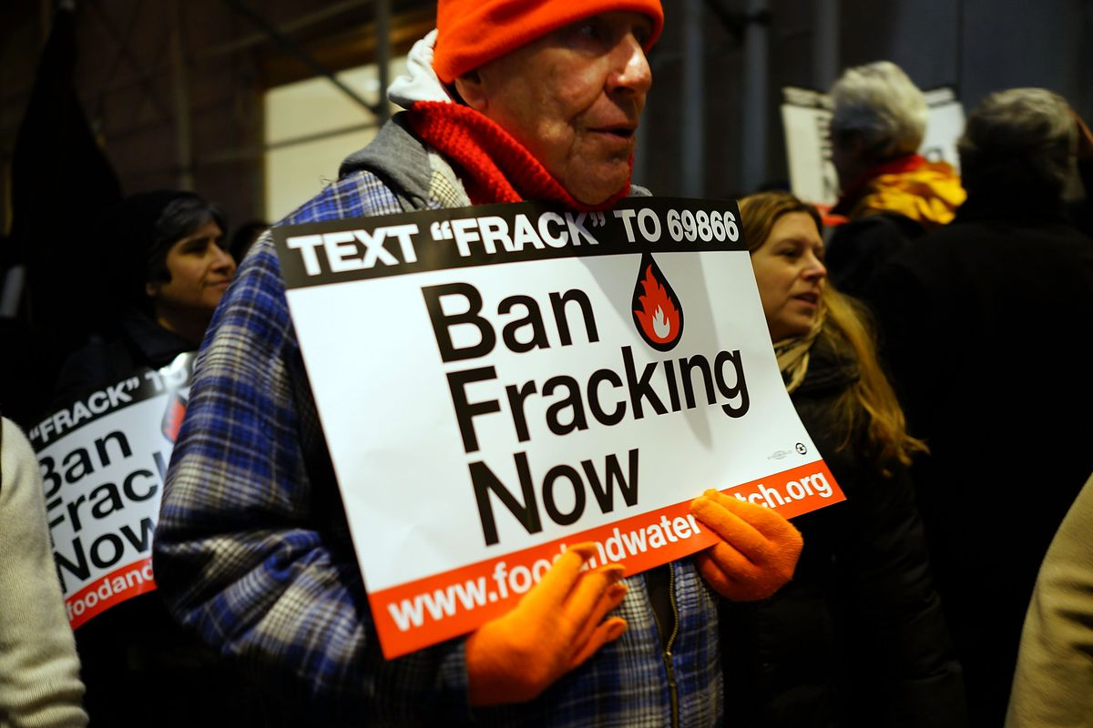 Anti Fracking protesters demonstrate in front of the Waldorf Astoria as New York Gov. Andrew Cuomo visits the hotel for a function on January 7, 2013 in New York City.