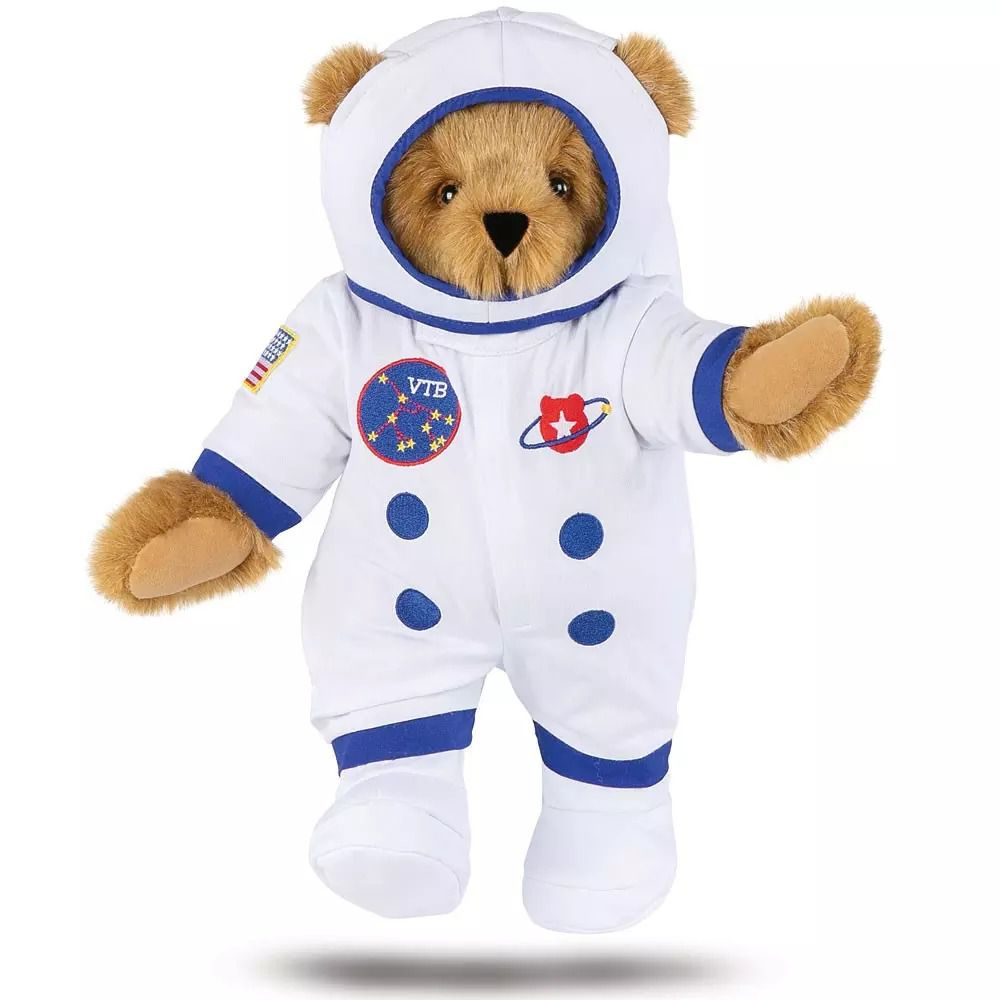 A teddy bear in a space suit.
